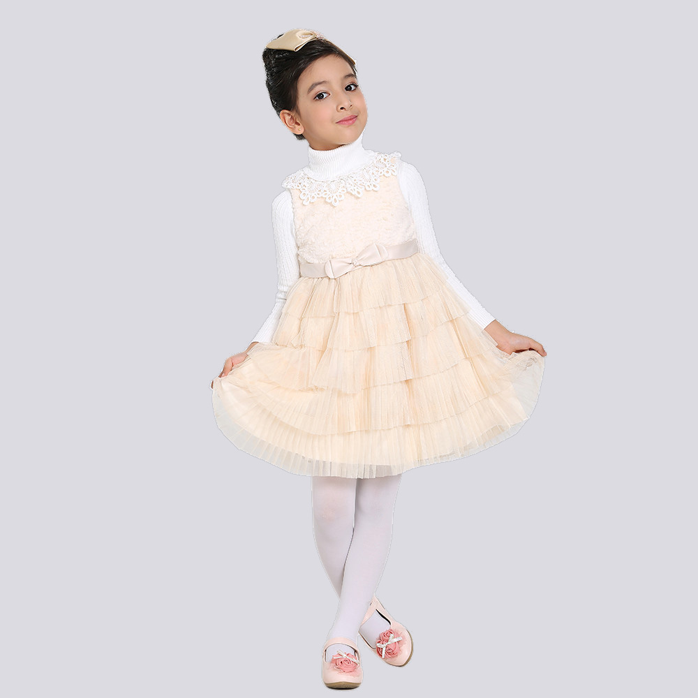 Children Girl Autumn Winter Dress Sleeveless Turtle Neck Ruched Applique Ribbon Belt Kids Princess Dresses - Dongguan Jiahao Apparel & Fashion Co., Ltd store