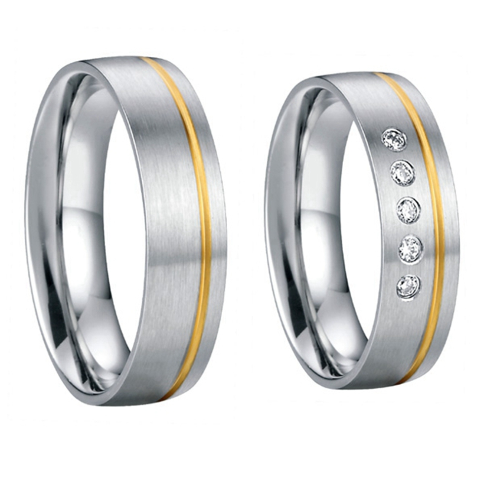 western gold plated inlay health titanium steel jewelry wedding band lovers rings sets couple anel alliance - China Wedding Rings store