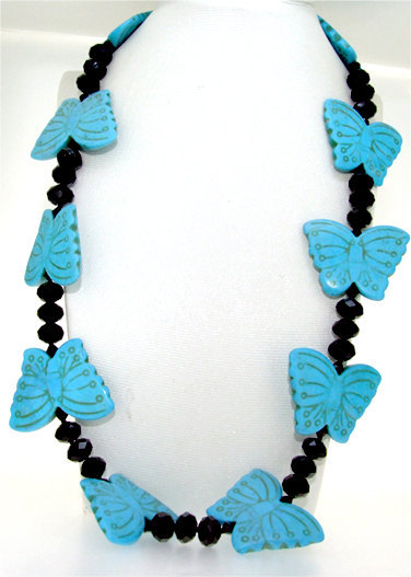 20 inches Faceted Black Agate Turquoise Butterfly Gem Beads Necklace(China (Mainland))