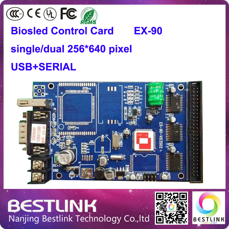 led controller card supply ex-90 single color led control card 256*640 pixel p10 led moving text sign board digital stage screen(China (Mainland))