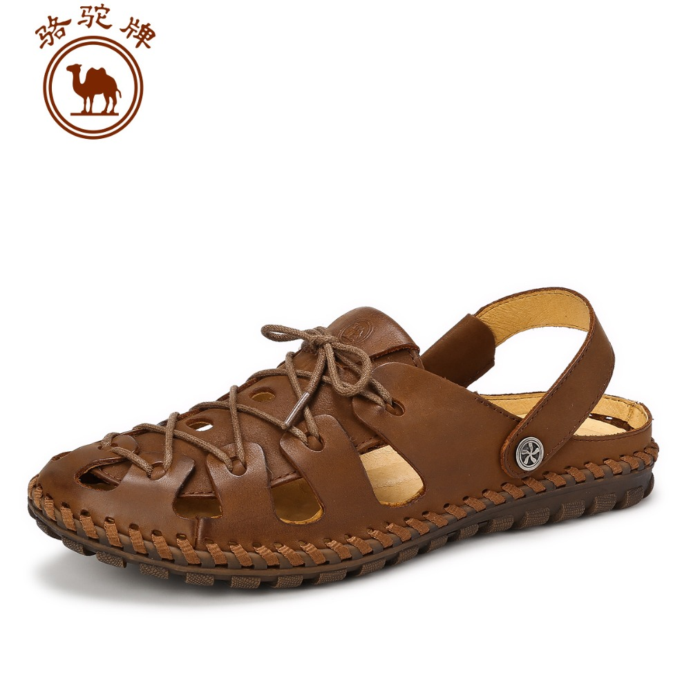 Camel Men's Fisherman Sandals Leather Upper Closed-toe Beach Sandals Slip-on W622342152(China (Mainland))