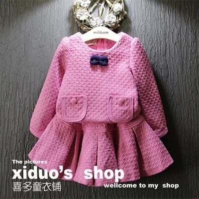 new 2015 autumn winter toddler girl clothing set bow tie long sleeve font b plaid b