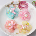 New Soft Chiffon Flower Hairpins Kids Pearl Ribbon Bow Hair Accessories Children Headwear Girls Lovely Rainbow