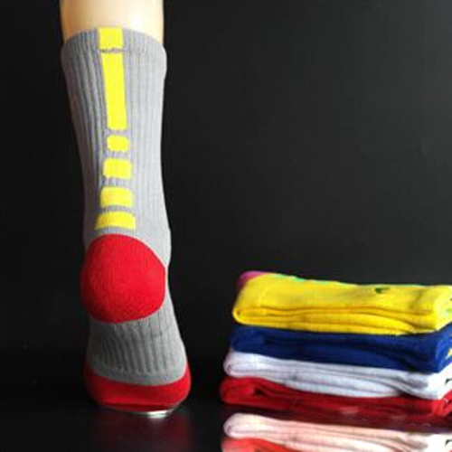 Men's Cotton Long Middle Tube Thick Towel Socks Embroidery Color Leisure Sports Basketball / Football Socks 1Pairs=2Pcs=Lot(China (Mainland))