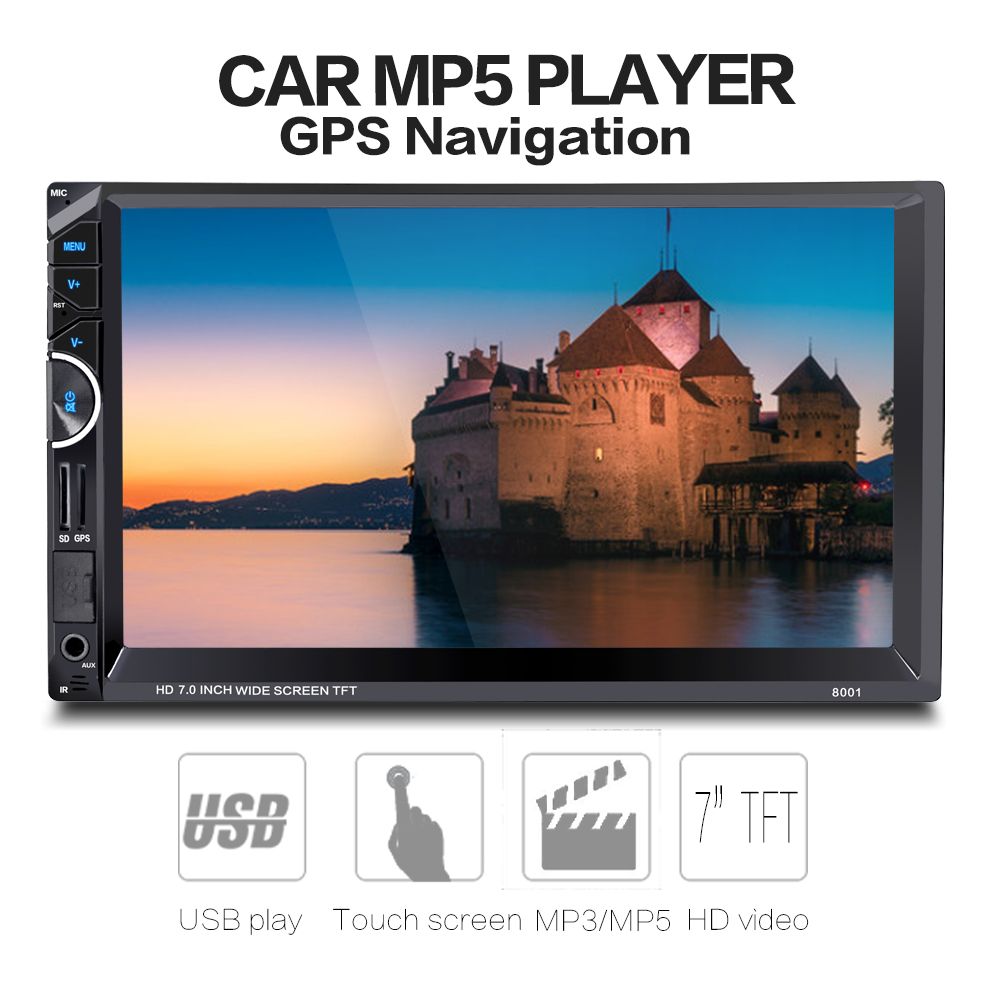 2 Din Car Radio Audio GPS Navigation 7'' 2Din Car Video Mp4 MP5 DVD Player Stereo FM RDS Bluetooth Remote Control with Camera