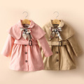 Baby bow dust coat the new spring and autumn outfit Korea 2016 children s wear female