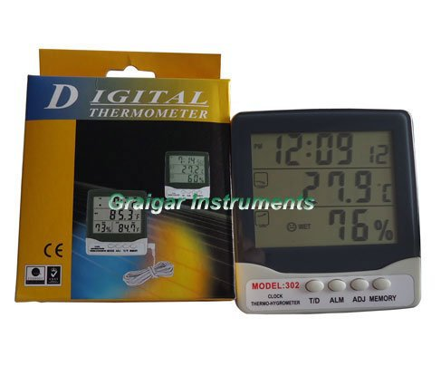 Digital Clock Thermo Hygrometer 302,digital temperature tester,thermometer,indoor humidity tester(China (Mainland))