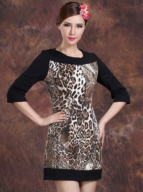 Dresses New Fashion 2013 Bandage Leopard Dress Club Bodycon Leopard Print Three Quarter Sleeve Plus Size Big Size XXXL AW13D026
