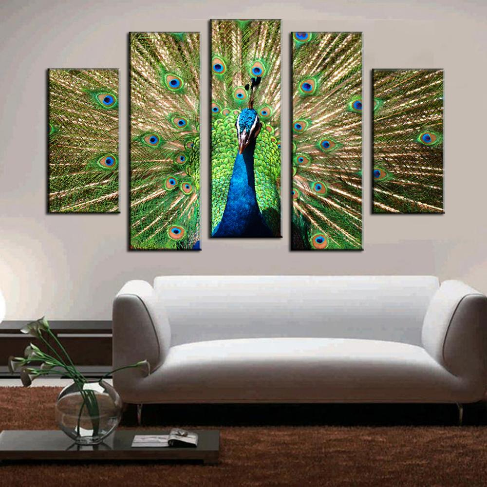 Artist Canvas Peacock Painting Big Size Top Home Decoration Wall Pictures For Living Room Cuadros Fallout Paintings 5 Pcs/set(China (Mainland))