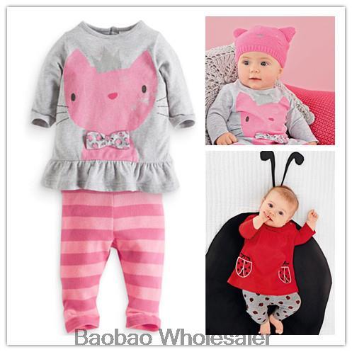 2014 Autumn winter baby sets cartoon cats set twinset long sleeve Shirt+striped pants children clothing girls boys clothes - FEN'S SHOP2 store