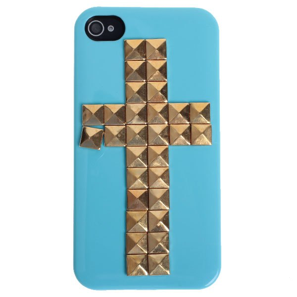Cool Cross Rivets Studs Series Good Quality Hard Plastic Case Cover for iPhone 4 / 4S Trendy Design Anti-knock Phone Back Case(China (Mainland))