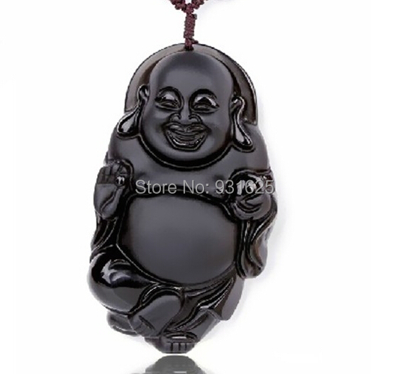 New High Quality Natural Obsidian Necklace Fashion Black Obsidian Carved Buddha Pendant For Women Men Vintage Jade Jewelry()