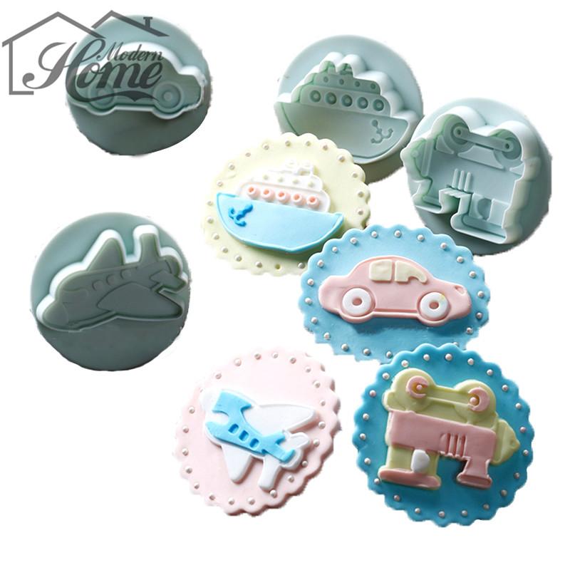 4PCS/LOT Plane Ship Train Car Sample Plastic Cookie Cutter 3D Fondant Mould For Chocolate Decorating DIY Handmade Kitchen Decor(China (Mainland))
