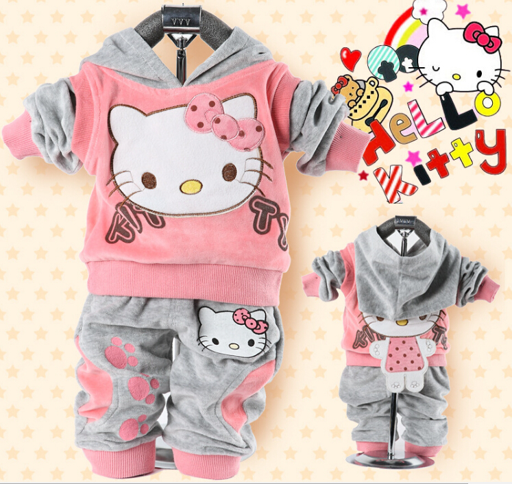 Wholesale-Girl's Hello Kitty clothing sets velvet Sport suits hoody jackets +pants 2pcs set(China (Mainland))