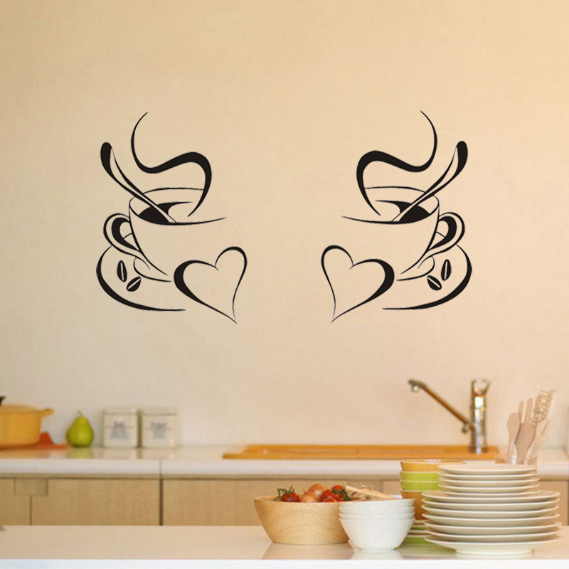 JJRUI 2 Coffee Cups Kitchen Wall Stickers Vinyl Art Decals Cafe Diner