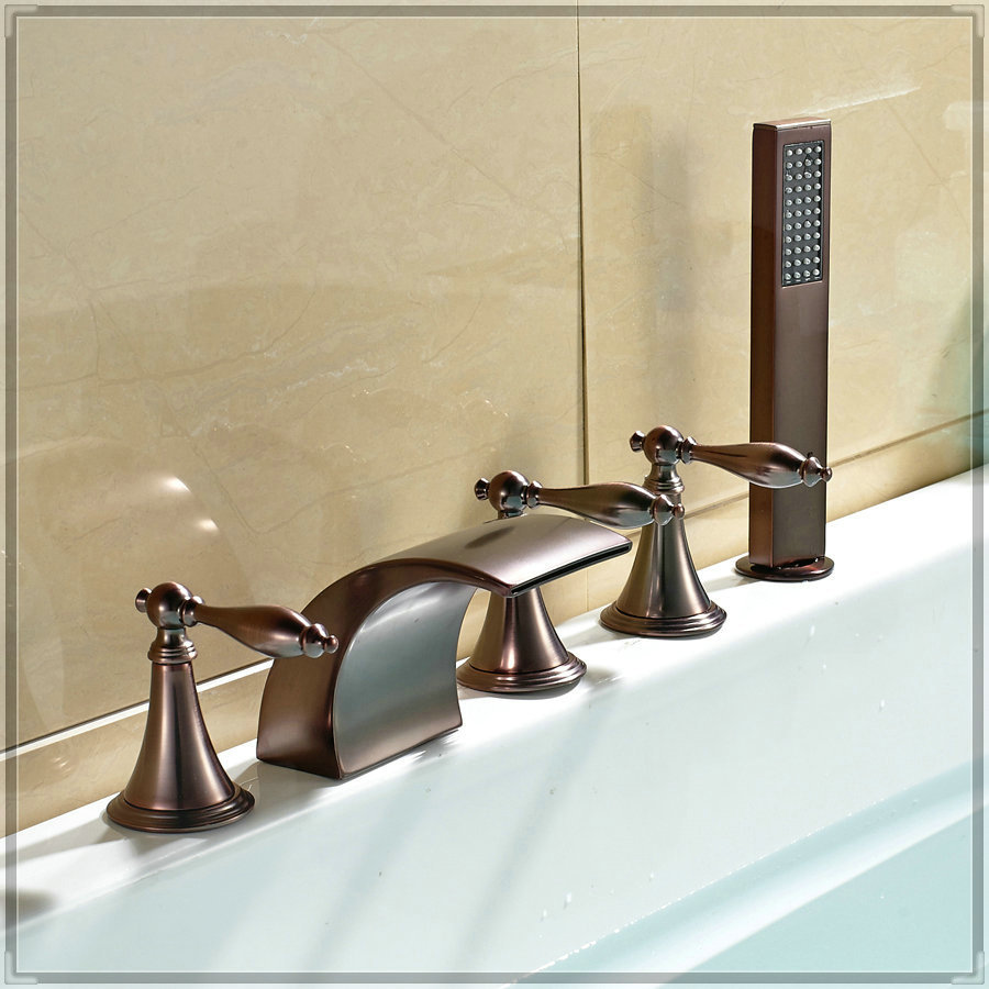 Waterfall Widespread Bathtub Faucet Holes Mixer Tap With Hand Spray Oil Rubbed Bronze Water