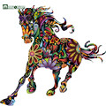 MARUOXUAN Abstract Design Decorative Wall Decal Colorful Flower Pattern Pentium Horse Wall Stickers For Kids Rooms