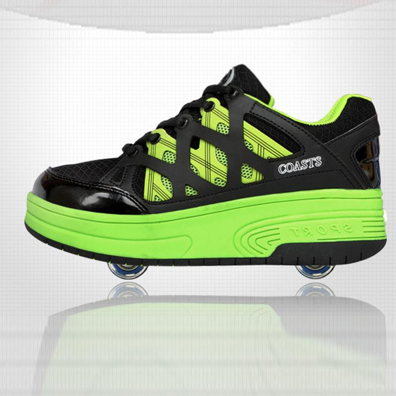 latest fashion winter Heelys automatic two-wheeled mesh invisible buttons boys girls student fashion sneakers children shoes(China (Mainland))
