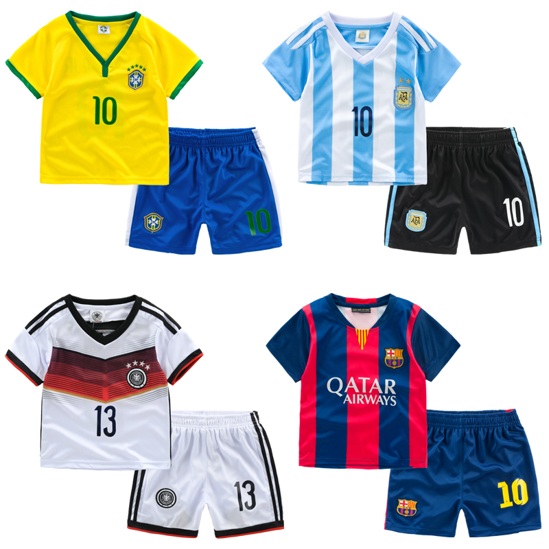 Thin breathable baby football set child 2015 children's clothing clothes twinset male child sports set summer(China (Mainland))