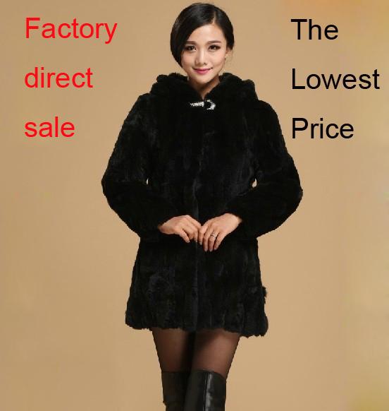 Genuine Rex Rabbit Fur Coat natural rex rabbit fur women winter jacket big size F559 - Cocol colette Fashion co.,Ltd store