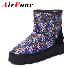 Airfour Sexy Rojo Zapatos de Mujer Botas de Nieve Caliente Invierno Zapatos de Los Planos tamaño 34-43 Botines de Punta Redonda para Las Mujeres Corto Slip-on Botas(China (Mainland))