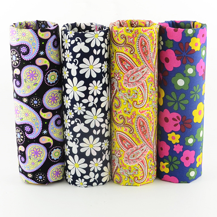 4 pieces 45x50cm retro paisley daisy mixed poplin cotton fabric fat quarters sewing cloth tecido patchwork W4B1-5 - TERAMILA Official Store store