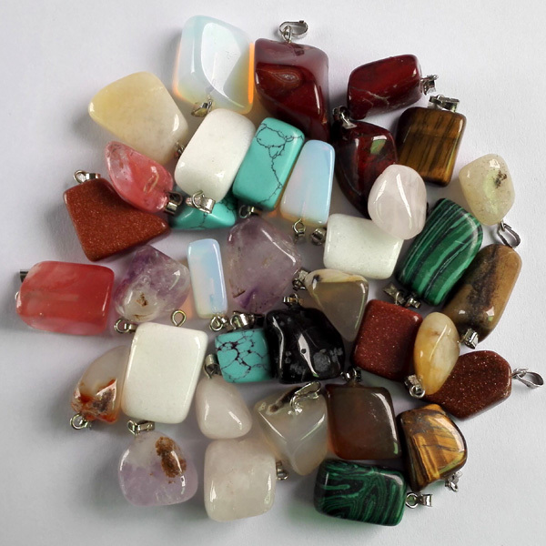 Wholesale Jewelry Natural stone pendants mixed Fashion Point Pendants Charms pendant teardrop necklaces 50pcs/lot free shipping(China (Mainland))