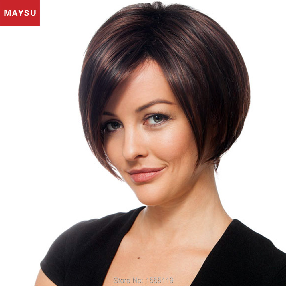 Short Human Hair Wigs For Women Elegant MAYSU Side Parting Classic Brazilian Virgin Hair Blonde wig Capless European Style<br><br>Aliexpress