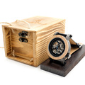 BOBO BIRD Mens Transparen Semi automatic Mechanical Wooden Bezel Wristwatch With Leather Band in Wood Box