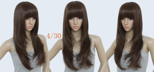 24inch 195G #2T30 light brown cheap wigs,  Indian Remy Blended Hair Silky straight Full wigs/Fashion wig