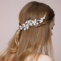 Charming Silver Flower Bridal Hair Comb Tiara Pearl Wedding Hair Jewelry Accessories Headmake Women Headpiece Combs