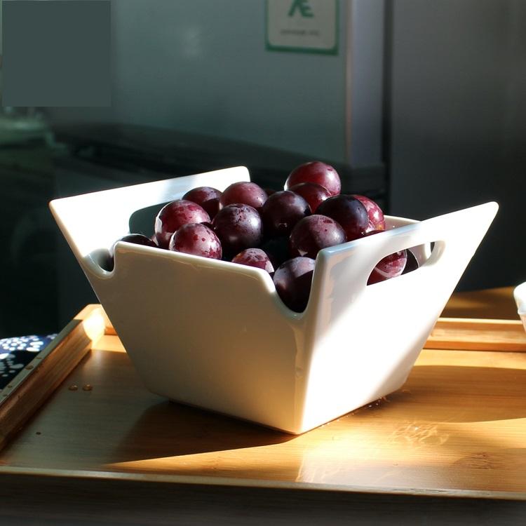 Trapézio Recorte Duplo Alças de Cerâmica Tigela De Porcelana Decorativa Vaso de Louça para Frutas, salada e Legumes(China (Mainland))