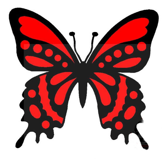 car Personalized stickers decorative stickers decal Calm beauty butterfly red / black #YXTZ05(China (Mainland))