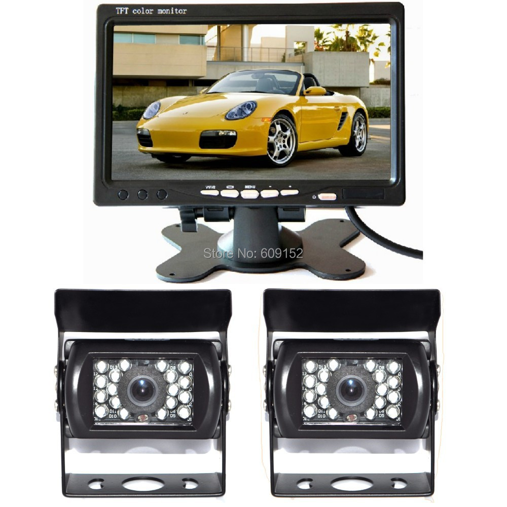 Dual/Double/Two IR CCD Backup camera Monitor Car Rearview kit 12v 24v BUS Truck Trailer Van Rv Parking reverse View CCTV SYSTSEM(China (Mainland))