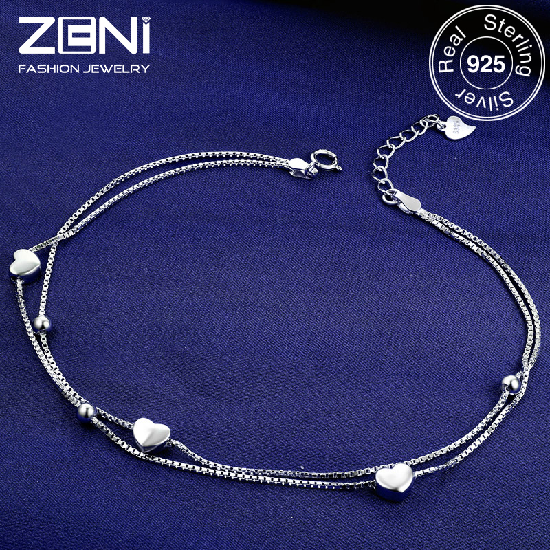 Zeni Heart Anklet Fine Jewelry Genuine 925 Sterling Silver Anklets for Women Fashion Jewelry(China (Mainland))