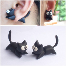 Black Punk Cool Simple Stereoscopic Cat Kitten Impalement Lady Stud Earring(China (Mainland))
