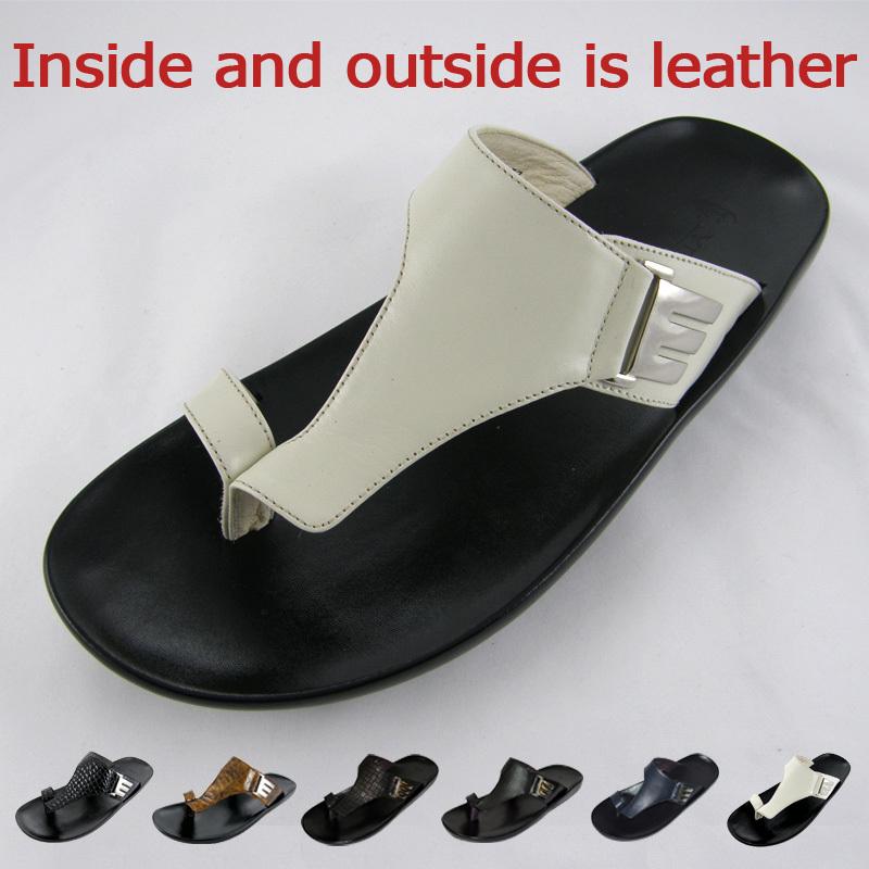 Casual Leather Men Sandals Fashion Slippers Soft PU Mans Shoes Genuine Flip Flops Slides Size Us 39-45 - Mens Store store