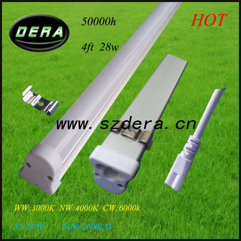 4ft 28W dimmable led,1200m T5 fluorescent light fixtures 3pin 110V/240V 2600lm t5 tube lighting,t5 belt,t5 pulley Free shipping(China (Mainland))