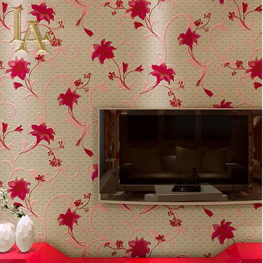 Compra papel tapiz de tela escocesa roja online al por for Red flower wallpaper living room