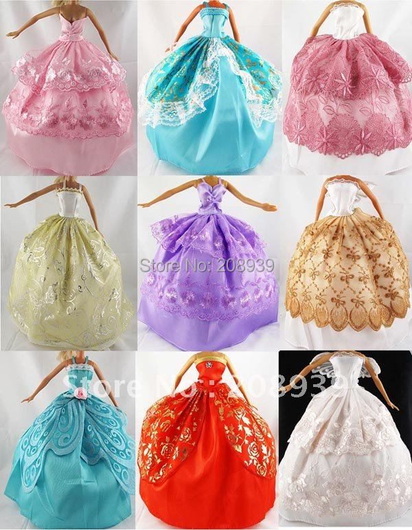 Free shipping 10pcs Handmade Party Doll's Dress Clothes Gown For Barbie(China (Mainland))