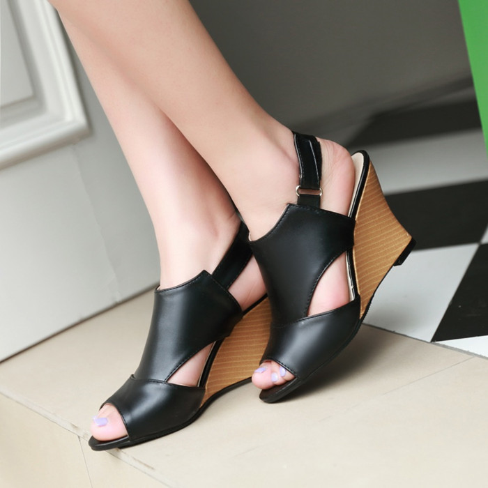 New 2015 summer sandals women brand wedge heel sandal peep toe open toe gladiator sandals heels women wedges shoes plus size(China (Mainland))