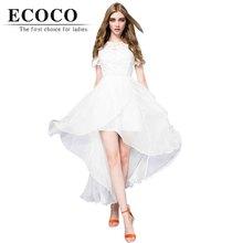 Recommend Casual Bohemia Asymmetrical Short Sleeve Midcalf Long Chiffon Lace Patch Summer Beach Dress White Black Plus Size D746