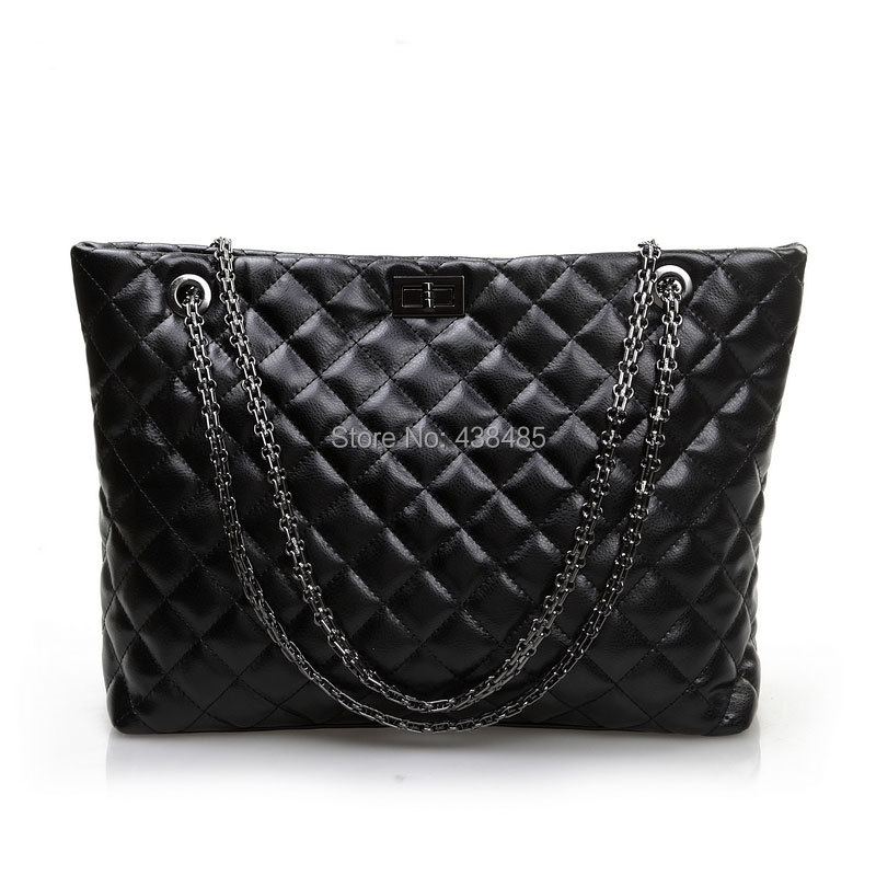 2014 New Luxury Famous Brand Style Chain Plaid Shoulder Bag/Tote Bag/Lady Women Handbag 100% Genuine Leather/China Made/Black - China Best Leather Bag Supplier store