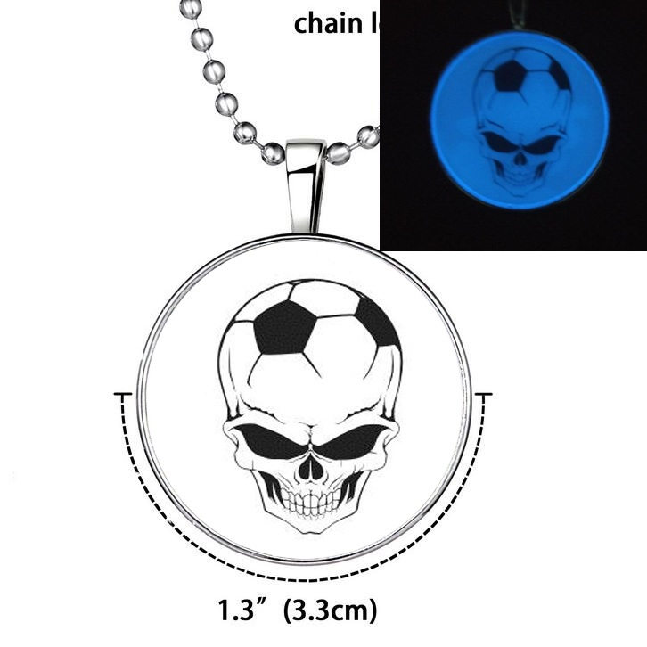 2016 Skull Football Tag Necklace Glow In Dark Necklace with Stainless Steel Chain Soft Cabochon Pendant for man Fine Jewelry D51(China (Mainland))