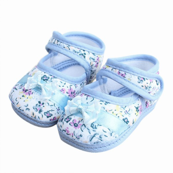 Lovely Infants Baby Kids Bowknot Flower Printed Prewalker Cotton Cloth Shoes New(China (Mainland))