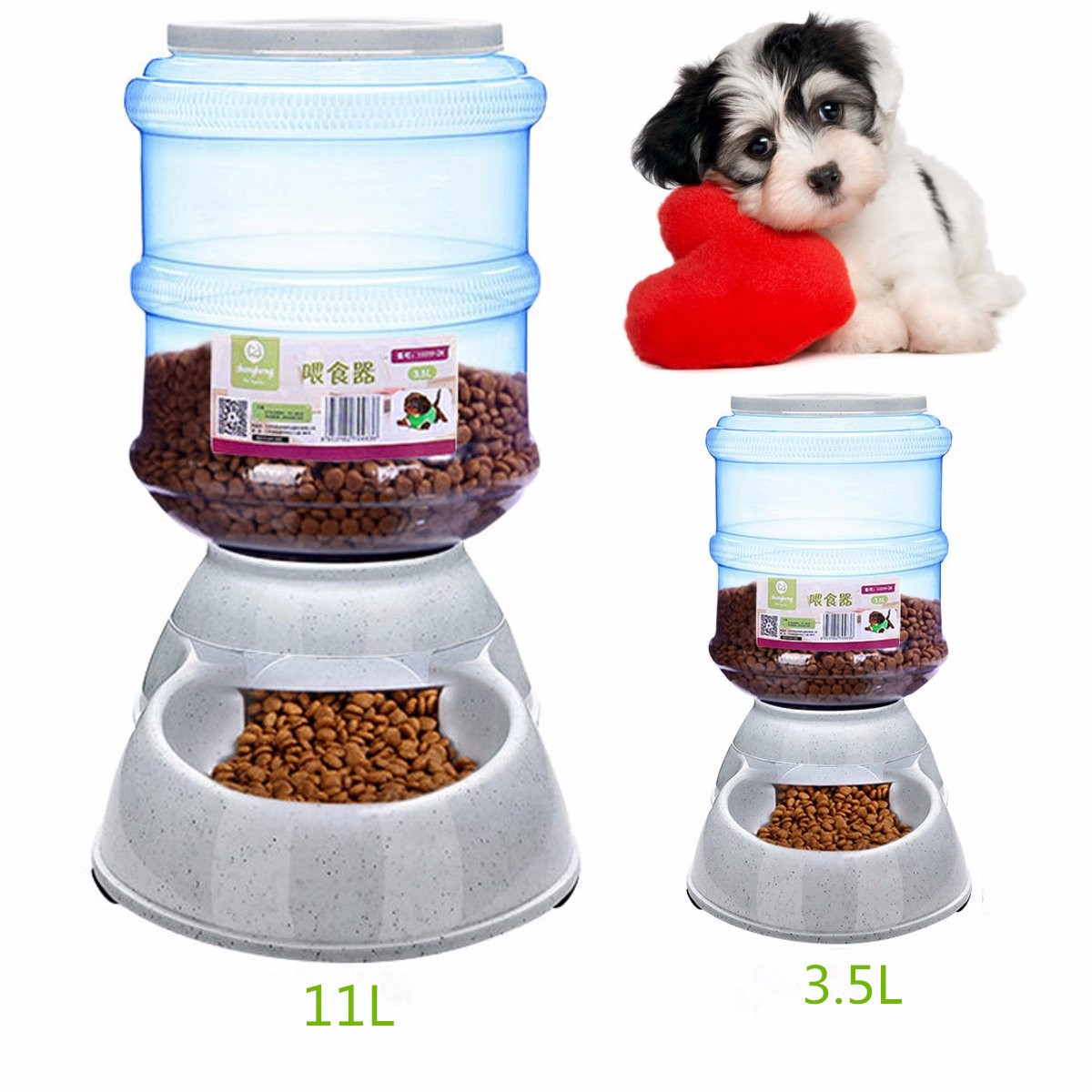 Plastic Large Pet Dog Cat Automatic Feeder 11L/3.5L Dish Food Bowl Dispenser Portion Control Pet Puppy Kitten Feeding Tools(China (Mainland))