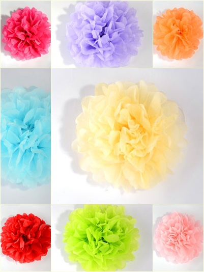 Hot Sale!! 3pcs 8'' 20cm Tissue Paper Pom Poms Party Wedding Home Outdoor Flower Shower Xmas Balls Decor Free Shipping 11 Colors(China (Mainland))