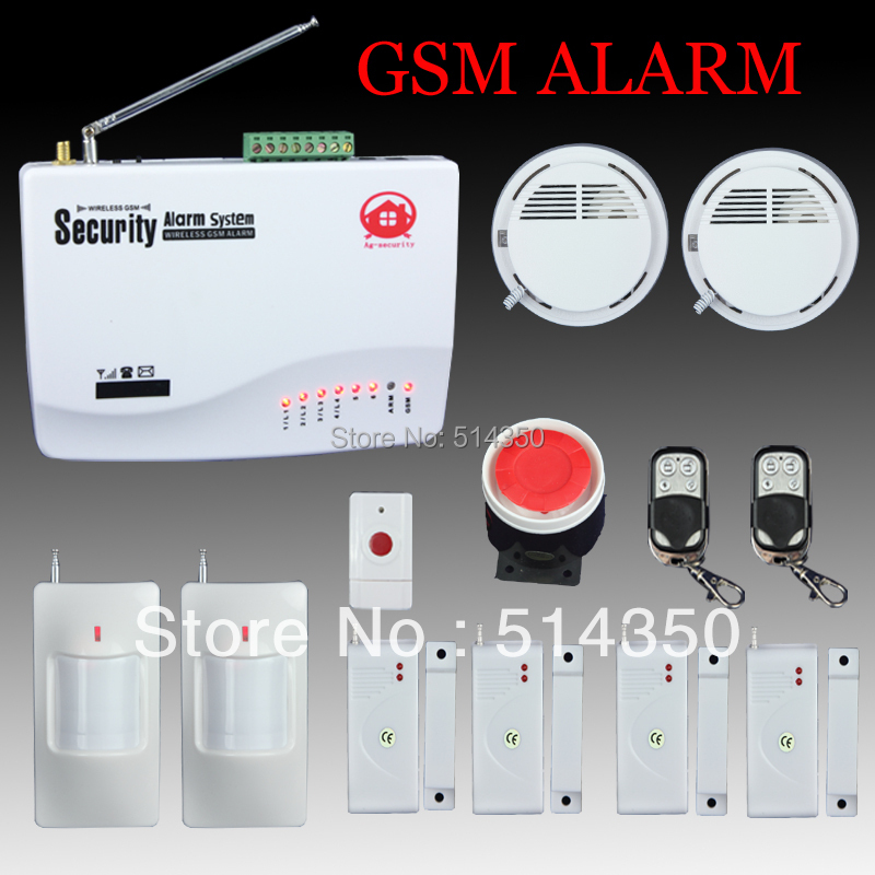 wireless home office shop gsm sms smoke detecter fire alarm security system free shipping in. Black Bedroom Furniture Sets. Home Design Ideas