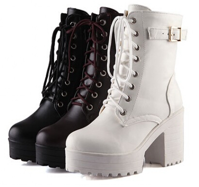 2015 Autumn Round Toe Casual Thick Heel Motorcycle Boots Fashion Womens Platform Ankle Black Faux Leather Ladies - Love shoes No.1092631 store