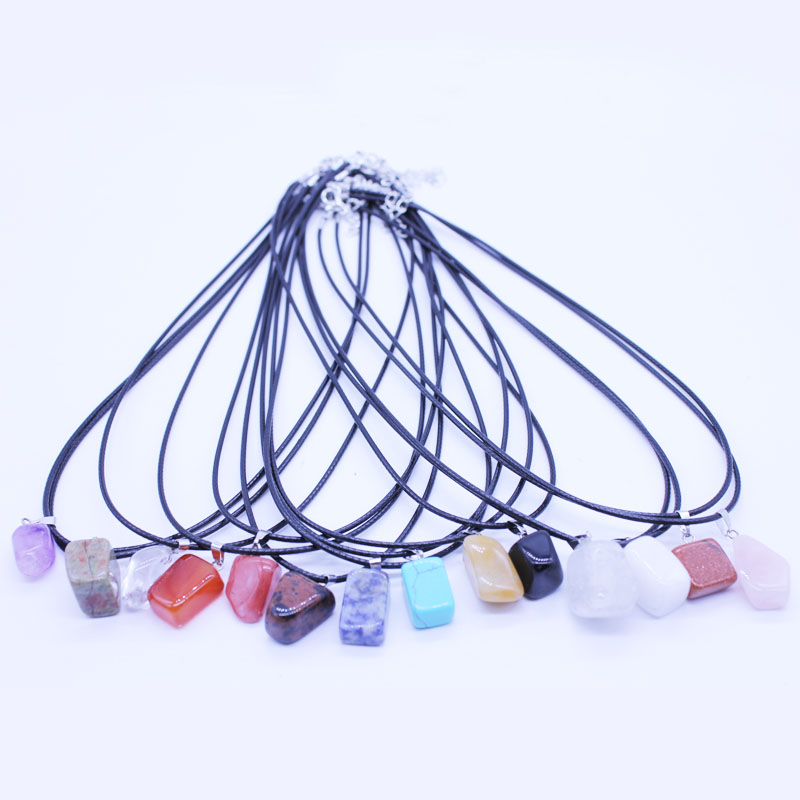 Natural raw crystal stone jade suspension 13 Color Amethyst choker necklaces & pendants Fashion Jewelry Bijoux Chain Xmas gift(China (Mainland))